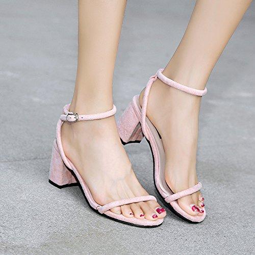 GAOLIM Verano Gruesas Y Casual Y Zapatos De Tacón Alto Versátil Fijaciones Ranuradas, Rocío-Toe, Con Sandalias Hembra Rosa