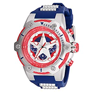 Invicta Men's Marvel Stainless Steel Quartz Watch with Silicone Strap, Blue, 30 (Model: 26894)
