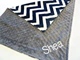 Personalize Double Minky Baby Blanket - Navy and Ivory Chevron Minky Front, You Choose SOLID COLOR minky