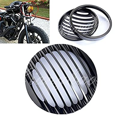 "Airkoul 5 3/4"" Black Aluminum Headlight Grill Cover For 2004-2014 Harley Sportster XL 883 1200"