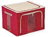 JJMG Stackable Polka Dots Oxford Cloth Steel Frame Shelf Quilt Clothing Blanket Pillow Shoe Storage Box Holder Container Organizer See-through Window double zipper Folding- Red 66L 20''x16''x13'' (1)