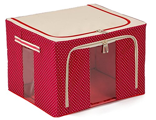 JJMG Stackable Polka Dots Oxford Cloth Steel Frame Shelf Quilt Clothing Blanket Pillow Shoe Storage Box Holder Container Organizer See-through Window double zipper Folding- Red 66L 20