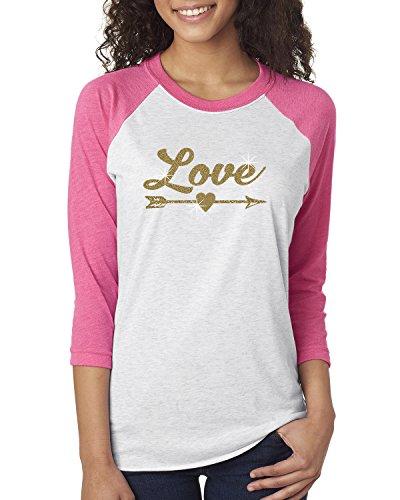 Love Gold Glitter Arrow Valentine Womens Raglan T-Shirt Pink White M