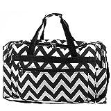 Chevron Print Large 22'' Duffle Travel Luggage Bag Dance Cheer (black)