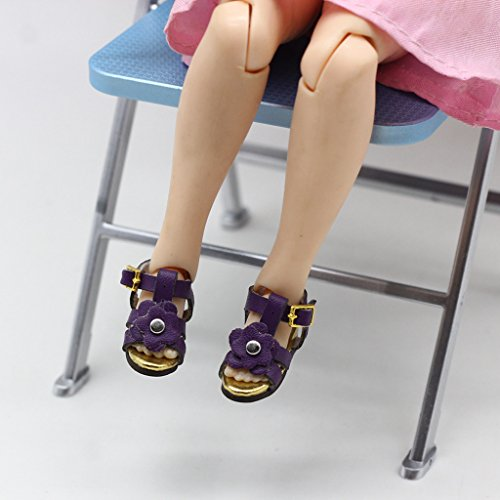 MagiDeal Zapatos de Sandalias de Tobillo Correa de Flor Accesorios de Ropa para 1/6 BJD Dolls - Rosado Púrpura