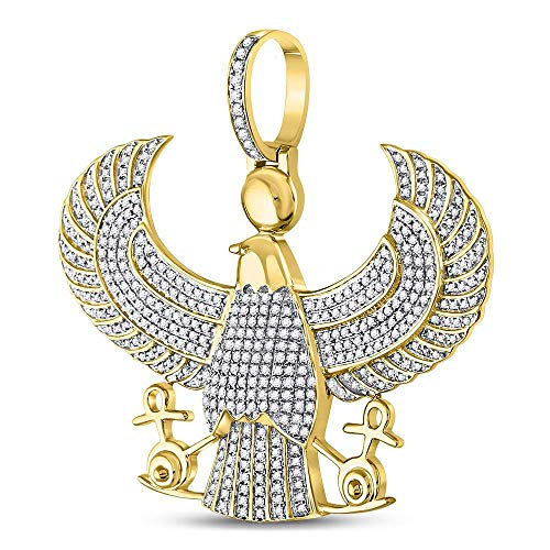 Dazzlingrock Collection 10kt Yellow Gold Mens Round Diamond Eagle Falcon Egyptian Horus Ankh Charm Pendant 1-3/4 Cttw