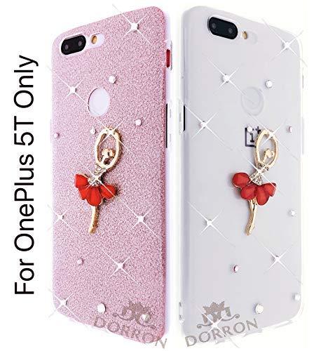 reputable site 1862f 56c45 DORRON Glitter Bling Girls Designer Soft TPU Back Case Cover for OnePlus 5T  / 1+5T (Pink_Dancing Girl)