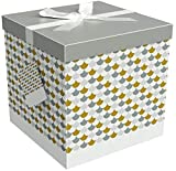 EndlessArtUS Sienna 12x12x12 Gift Box Pop up in Seconds Comes with Decorative Ribbon Mounted on The lid A Gift Tag and Tissue Paper - No Glue or Tape Required