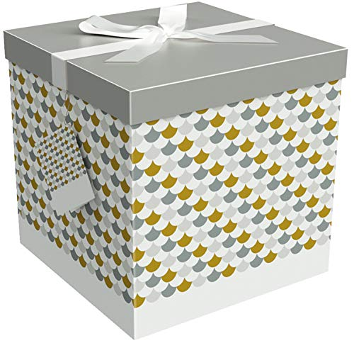 EndlessArtUS Sienna 12x12x12 Gift Box Pop up in Seconds Comes with Decorative Ribbon Mounted on The lid A Gift Tag and Tissue Paper - No Glue or Tape Required - Gift Box Large Square