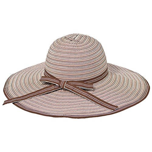 (hat.a.girl Striped Ribbon Crusher Travel Hat with 5 inch brim - HS360 (Brown stripes))