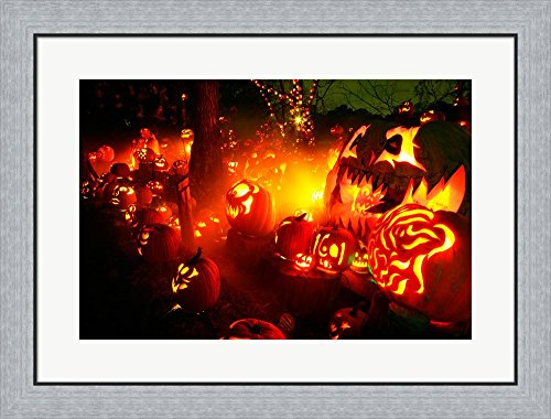 Jack o' lanterns lit up Roger Williams Park Zoo, RI Framed Art Print Wall Picture, Flat Silver Frame, 30 x 23 inches -