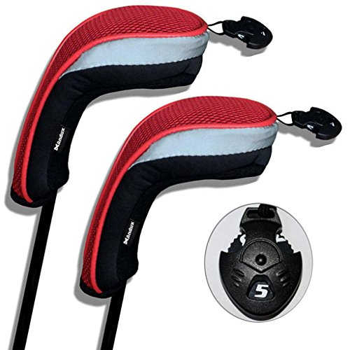 2 Pack Andux Golf Hybrid Club Head Covers Interchangeable No. Tag MT/hy01 Black & Red (Headcovers Hybrid Iron)