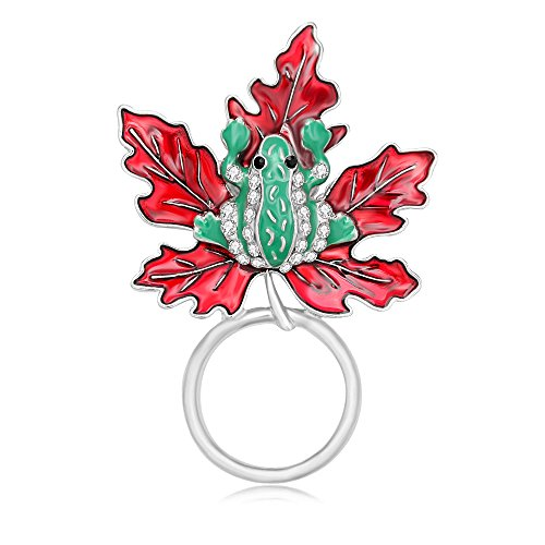 Silver Maple Leaf Pin - PANGRUI Pretty Frog Maple Leaf Brooch Personality Magnetic Eyeglass Holder (Silver)