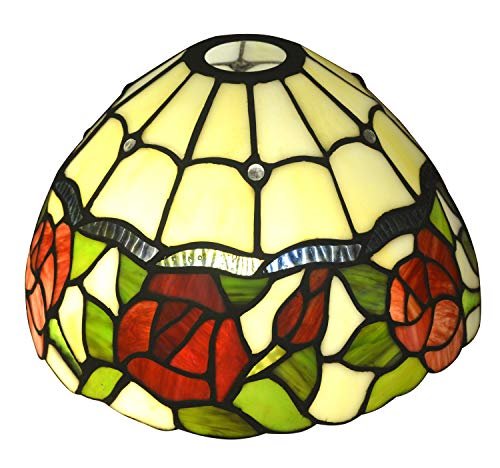 NOSHY SH-035 Premium Rose Flower Tiffany Lamp Shades, Multi-Colored, 10-Inch Width, Pack of 1 (Style Tiffany Shade)