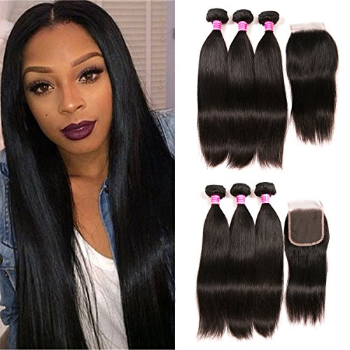 Brazilian Hair With Closure 3 Bundles Unprocessed Virgin Brazilian Straight Human Hair Bundles With Lace Closure Free Part QinMei Hair Extensions (18 20 22 +16) by QinMei