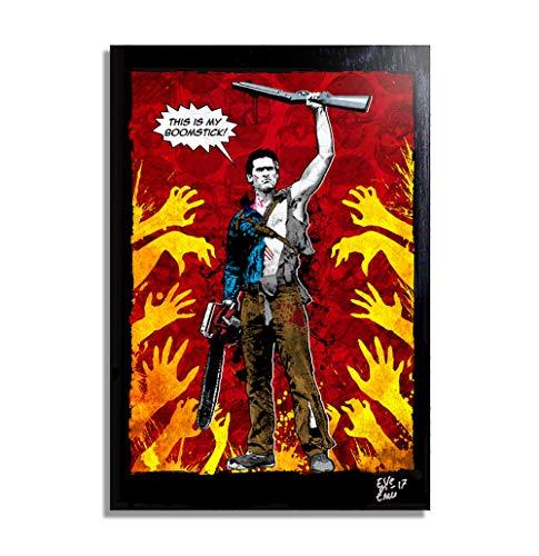 Ash Williams (Bruce Campbell) from Evil Dead Army of Darkness (Sam Raimi) - Pop-Art Original Framed Fine Art Painting, Image on Canvas, Artwork, Movie Poster, -