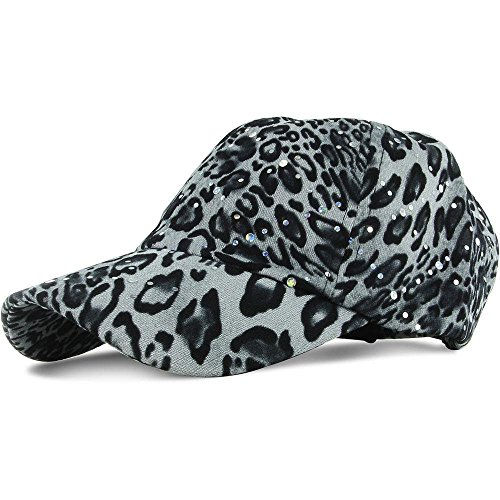 Black/White Leopard_100% Polyester Glitter Baseball Cap Golf Hat Rhinestone (US Seller)