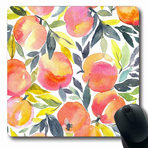 Ahawoso Mousepads for Computers Creative Pattern Bright Hand Watercolor Peach Food Harvest Drink Ange Apricot Drawing Fruit Oblong Shape 7.9 x 9.5 Inches Non-Slip Oblong Gaming Mouse Pad