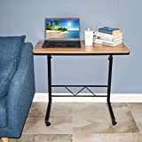 "Akway Mobile Laptop Desk Cart 31.4"" Height Adjustable Rolling Cart Notebook Computer Stand Bed Table for Eating and Laptops, Teak CJ02-80-GXM"