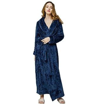 SHANGXIAN Largo Bata Baño Homewear Vestido Mujeres/Hombres Albornoz Franela Camisón Calentar Batas De Baño,Navy(Female),XL: Amazon.es: Hogar