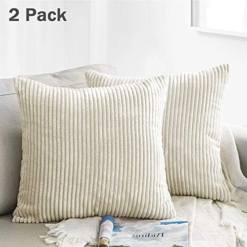 Covers, Striped Velvet Corduroy Square Pillow Cover Throw Cushion Case Decorative Pillowcase for Sofa Bedroom Car 18 x 18 Inch 45 x 45 cm (2 Pack, Cream Cheese) ()
