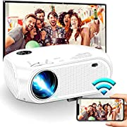 """#LightningDeal Wireless WiFi Projector 4500L,2020 New WEILIANTE Mini HD Video Projector, Support Dolby 50,000Hrs, 200"""" Display, 1080P, Compatible with Android, iOS, Video Games, TV Stick, Laptops"""