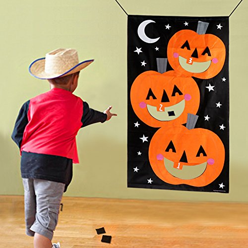 PartyTalk Pumpkin Bean Bag Toss Games with 3 Bean Bags Halloween Games for Families with Kids Travel Games Halloween Party -