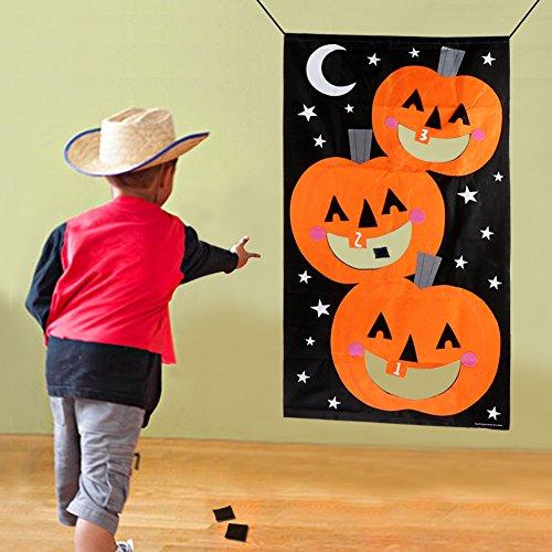 Gross Halloween Party Games (PartyTalk Pumpkin Bean Bag Toss Games with 3 Bean Bags Halloween Games for Families with Kids Travel Games Halloween Party)