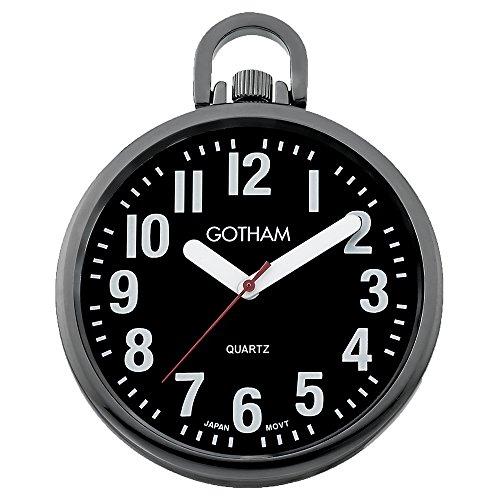- Gotham Men's Gun Metal Ultra Thin Bold Number Open Face Quartz Pocket Watch # GWC15033BBK