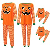 FEDULK Family Matching Halloween Pajamas, Pumpkin Face Print Stripe Shirt and Pant Festival Sleepwear Set(Dad, X-Large)