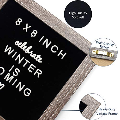 Black Changeable Felt Letter Board 8x8 inches, Muga Changeable Wooden Message Board Sign Include 183 Letters, Numbers & Symbols with Free Canvas Bag & MDF Frame, Perfect Gifts Photo #6