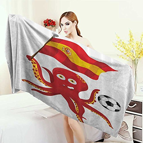 Anhounine Quick-Dry Towels Funny Octopus Soccer Player Spain Flag European Football Barcelona Madrid Valencia Sports Lover Clip Accent for Male Wrap Towels 55''x27.5'' Red Yellow White by Anhounine