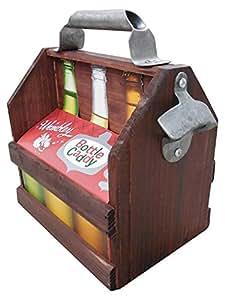 Wooden Beer Carrier, Tote, 6 Pack Holder With Bottle Opner. Beer Case With Metal Handle and Bottle Opener!
