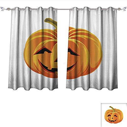 Philiphome Window Curtain Fabric Halloween Pumpkin Blackout Window Curtain Panel W96 x -