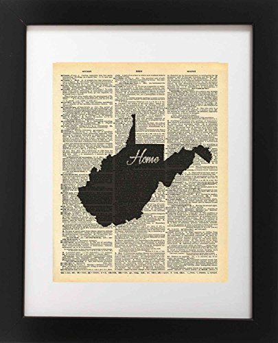 West Virginia State Vintage Map Vintage Dictionary Print 8x10 inch Home Vintage Art Abstract Prints Wall Art for Home Decor Wall Decorations For Living Room Bedroom Office Ready-to-Frame (Virginia Antique Map)