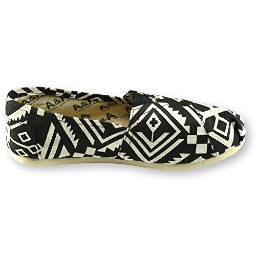 Tribu on amp;A Casual Women Slip Flats Canvas Alpargatas Shoes Black A IUvCFxv