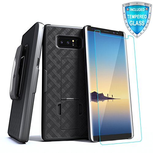 Phone Case Compatible with Samsung Galaxy Note 8, Note 8 Belt Clip Case, Cellularvilla Slim Rugged Holster Belt Clip Kickstand Case with Tempered Glass Screen Protector for Galaxy Note 8 (2017) Black