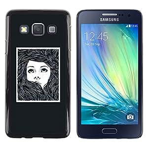 Paccase / SLIM PC / Aliminium Casa Carcasa Funda Case Cover - Girl Woman Poster Drawing Frame - Samsung Galaxy A3 SM-A300