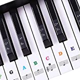 Piano Stickers for Keys, Removable Keyboard Stickers for 37/49/54/61/88 Key Piano, Full Set Kids and Beginners Learning Piano, with Instruction Note Labels Stickers (Multi Color)
