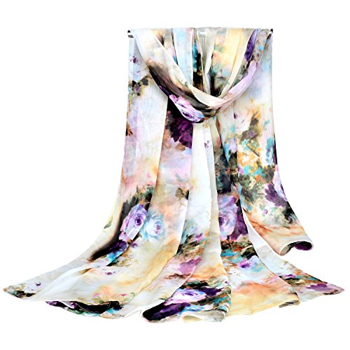 GERINLY Chiffon Sarong Wrap: Pastel Romantic Blooms Print Oversize Beach Cover Up (Beige)