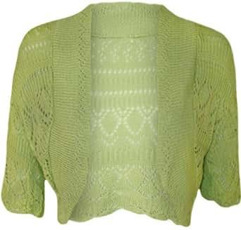WearAll Women's Crochet Knitted Short Sleeve Bolero - Apple - US 10-12 (UK 14-16)