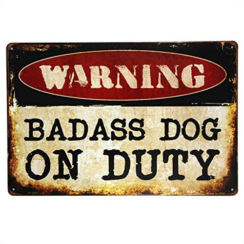 T-Ray WARNING badass dog on duty Metal sign wall Decor Garage Shop Bar living room wall sticker Dog Metal Signs