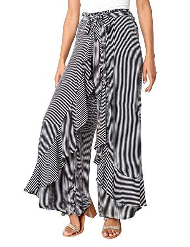 Jessica CC Women's Solid Ruffle Wide Leg High Waist Loose Palazzo Skirt Pants (X-Large, Black White)