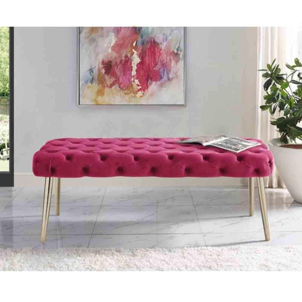 ECSD 35,4 Bett Ende Hocker Nordic Edelstahl Metallfüße Sofa Hocker Ändern Schuh Bench Bekleidungsgeschäft Dressing Hocker (Color : 06)