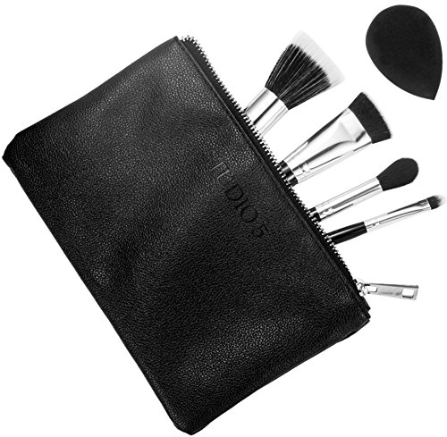 Tapered Highlighter, Flat Top Kabuki Buffer Brush, Pro Duo Brush, Detailer Brush, and Pro Blending Sponge. Case Included. Perfect for Contouring and Highlighting.
