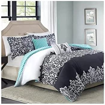 Amazoncom Pc Adorable Teen Girl Black Teal Damask Full Queen - Black and teal comforter sets