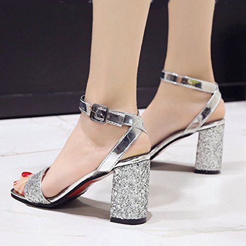 e31956a3603 SHOPUS   Women's Trendy Block Chunky Heel with Ankle Strap ...