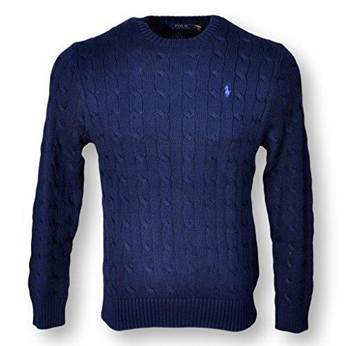 POLO RALPH LAUREN MEN'S CABLE-KNIT COTTON SWEATER, NAVY BLUE, (Polo Cotton Sweater)