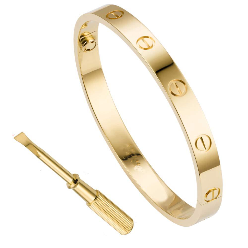 QUEEN JULIA Gold Bangle Bracelets for Women Silver Couples Bracelets Titanium Steel Love Bracelet for Girls Boys Pulseras de Mujer Valentines Wedding Wife Gifts 6.7inch