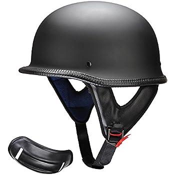 8a58612bbc3 AHR DOT German Style Motorcycle Half Helmet Open Face Cruiser Chopper Biker  Skull Cap Helmet Black L